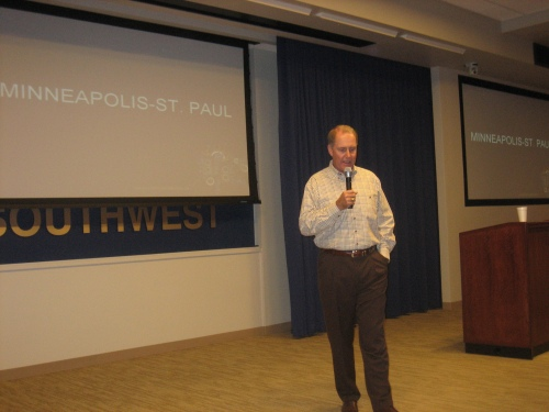 Southwest Airlines chairman, president, and CEO Gary Kelly announces new Southwest service to Minneapolis-St. Paul.