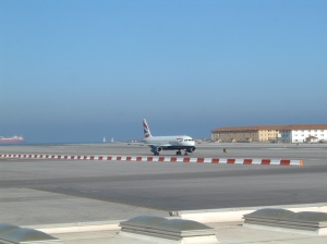 British Airways flight from Gatwick arrives at Gibraltar. I flew back to Luton on Monarch Scheduled.